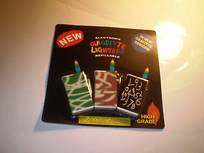 a pack of 3 electronic grafitte lighters new on card [refillable] with free post