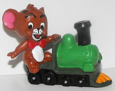 Jerry Figurine on a Train from the Tom and Jerry Cartoon Plastic Figure Mouse