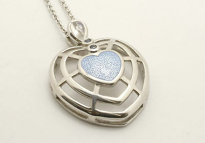 Nicole Barr- Sterling Silver, Sapphire and Moonstone Enamelled Heart Pendant