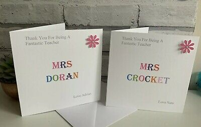 Personalised Thank You Teacher Card, School, Nursery, Assistant Etc.