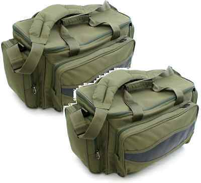 2 x Brand New Carp Fishing Green Insulated Padded Carryall Holdall Tackle Bags