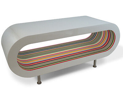 Designer Coffee Table White Gloss With Yellow Stripes