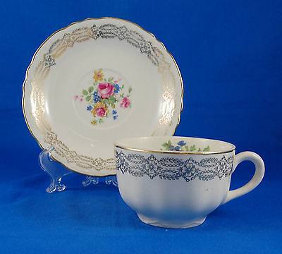Homer Laughlin Unknown Pattern Flat Cup and Saucer Set 2.375 in. Gold Filigree