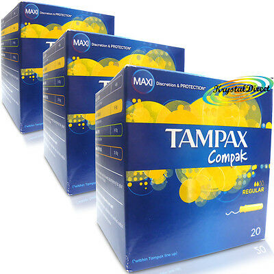 3x TAMPAX Compak Regular High Performance Protection 20Tampons With Applicator