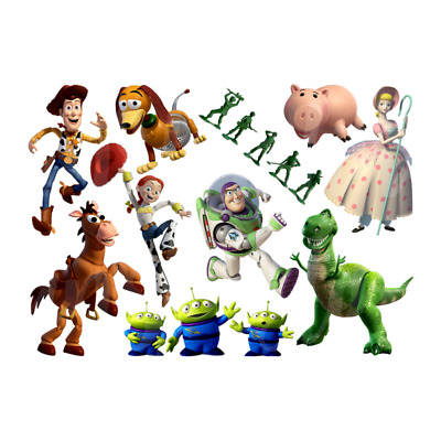 Toy Story Disney Sticker Wall Deco Woody Buzz Rex Jessie Bullseye Aliens Lot Ty3