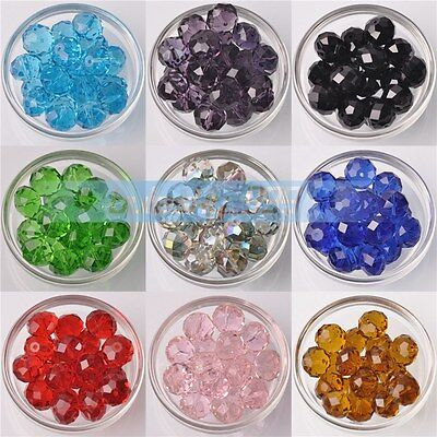 100pcs Faceted Glass Crystal Jewelry Design Findings Rondelle Loose Beads 6x4mm