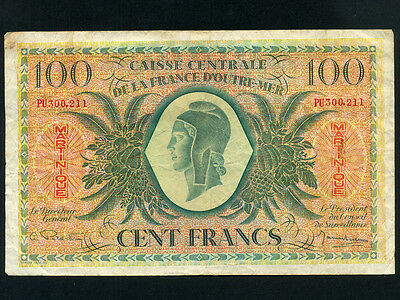 Martinique:P-25,100 Francs,1944 * French Rule * WWII *