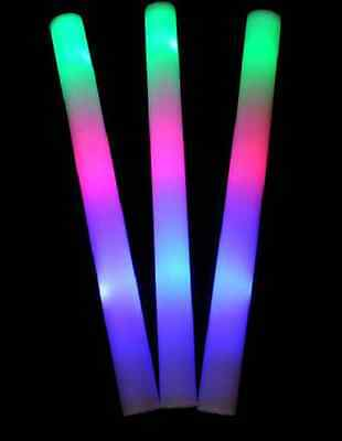 12 Pieces -  LED Foam Light Up Stick - Multi Color Changing Rally Foam Stick