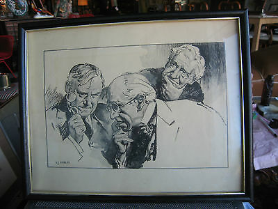 Antique Early to Mid 20th Century Victor Joseph Harles Signed Drawing