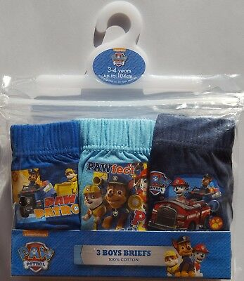3 x Pairs Boys PAW PATROL Briefs Pants Underwear 18m 2 3 4 5 Years 100% Cotton