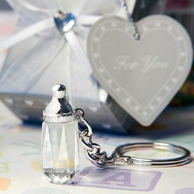 30 - Choice Crystal Baby Bottle Key Chain Baby Shower Favor - Free US Shipping