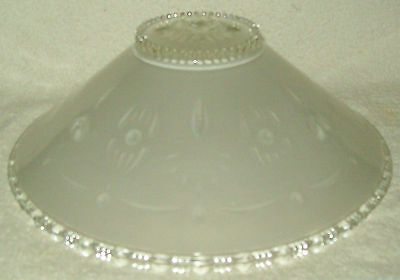Vintage Ceiling Light Frosted & Clear Glass Globe Shade 3 Chain Hanging