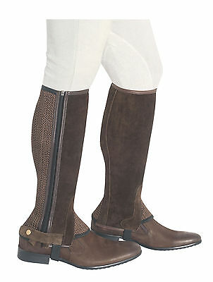 Kids Brown Suede Leather Half Chaps with Brown Mesh Elastication Gusset