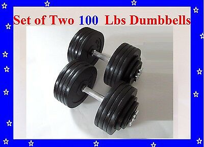 2 x100 LBS A Set Adjustable Cast Iron Dumbbells Total 200 lbs Dumbbell Free Ship