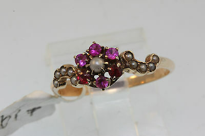 ANTIQUE VICTORIAN LATE 1800'S PINK COLORED STONES & SEED PEARLS RING  S 7.25 10k