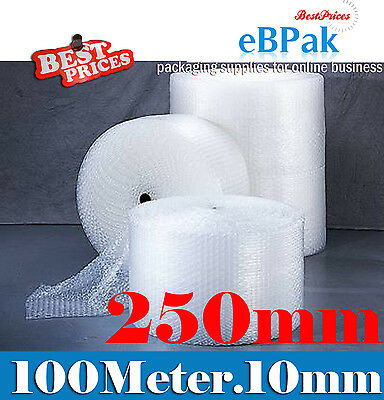 NEW 250mm x 100M Meter Bubble Cushioning Wrap Roll - CLEAR 10mm Bubble