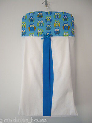 Nappy Stacker Blue Owls Diaper Holder