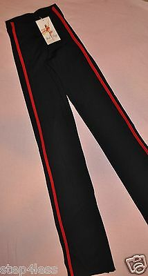Nwt Adult unisex dance street warmup practice pants nylon lycra, black and red