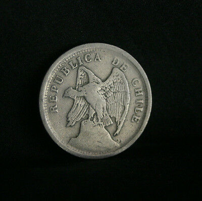 1922 20 Centavos Chile World Coin Defiant Condor on Rock  KM167.1 20 cents