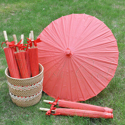 "A Red color paper parasol / umbrella with ribbon 33"" adult for wedding favor"