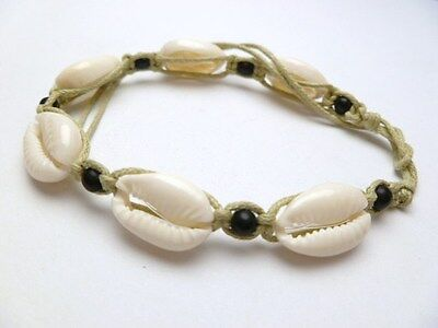 Hawaii Jewelry Natural Sigay Cowry Shell Bracelet / Anklet # 20030-14D (QTY 2)
