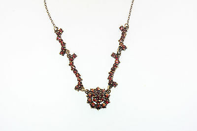 Antique Victorian Late 1800 Red Bohemian Garnet Star Cluster Pendant Necklace