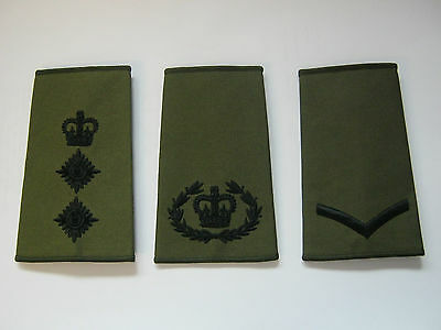Regimental Rank Slides Olive Green with  Black Embroidery - British Army