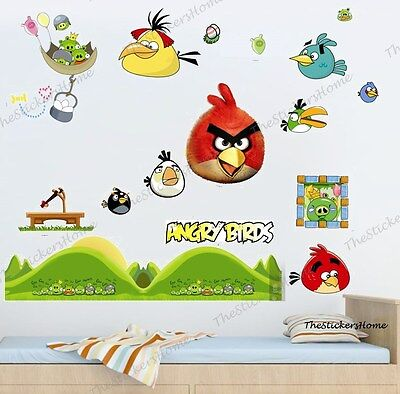 Angry Birds Wall Stickers Kids Nursery Decor Game Room Removable Vinyl Art Decal