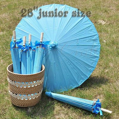 "A blue paper parasol / umbrella with ribbon 28"" junior for wedding favor"
