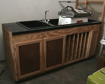 Delta Darkroom Sink, Six foot sink with custom cabinet