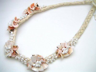Hawaiian Jewelry Pink White Mango Shell Raffia Necklace # 20016-10 (QTY 2)