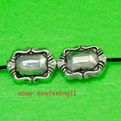 100pcs Tibetan Silver Nice Oblong Loose Spacer Charms Beads Free Shipping