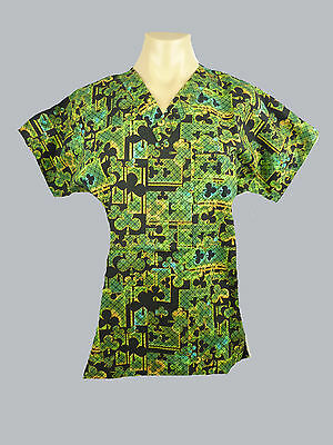 Medical Scrubs- Unisex- Printed Top/ Uniform. Nurse/ Vet/ Dental- BN Choose Size