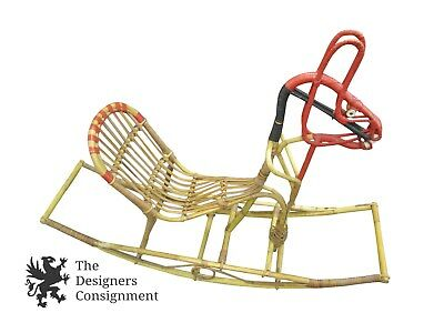 Folk Art Decorative Rocking Horse Vintage Wicker Bamboo Child Size Rattan Ships