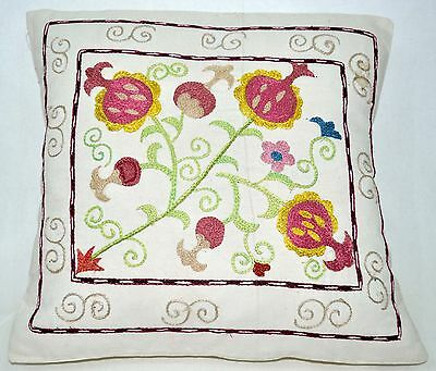 P12 NEW Pillowcase/Sham Hand Made Silk Embroidered Floral Antique/Vintage Suzani