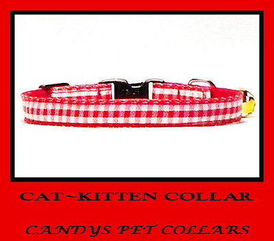 * HANDMADE * Bright Red & White Gingham Cat  Kitten Safety Collar 7inch - 9 inch