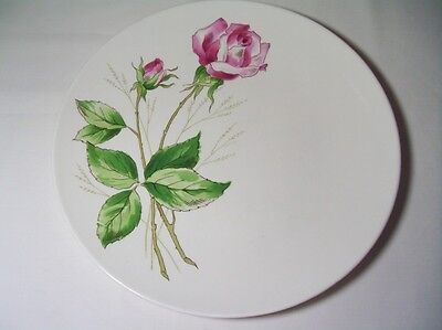 "Knowles China Co. Plate Tea Rose X-2240-0 Rose& Green Pretty Mid Century 10""wide"