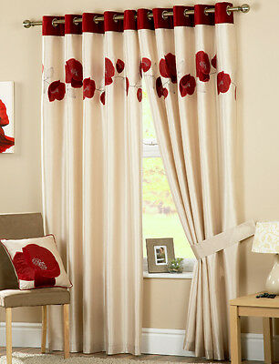 Eyelet Curtains Danielle Red / Beige Fully Lined Ring Top Heading