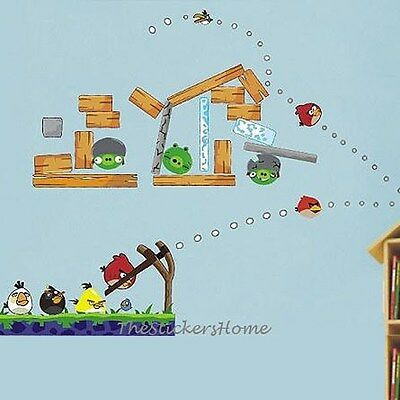 Angry Birds Wall Sticker Game Room Transparent&Removable Large Decor UK Stock