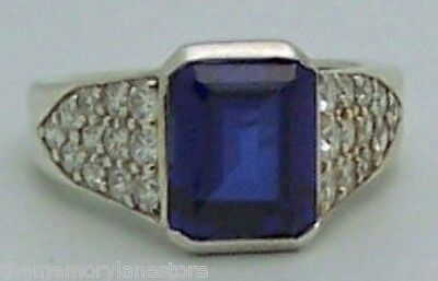 Lovely Estate Kabana Blue & White Cubic Zirconia Sterling Silver Ring, Size 6