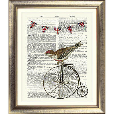 ART PRINT ON DICTIONARY BOOK PAGE Vintage Bird Bunting Bicycle Shabby Chic Bike