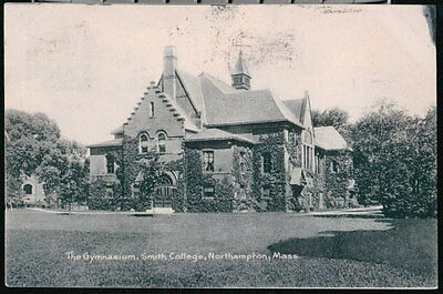 NORTHAMPTON MA Smith College Gym Gymnasium Antique Flag Cancel Postcard Old Vtg