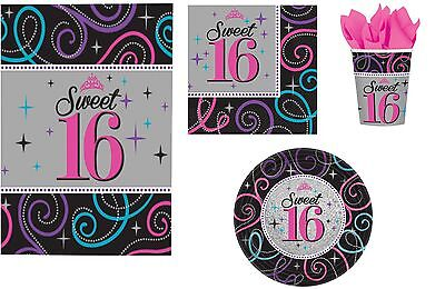 16th BIRTHDAY PARTY SWEET SIXTEEN SET FOR 16 NAPKINS PLATES CUPS TABLECOVER