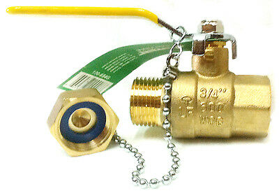 "3/4"" NPT x GHT Garden Hose Lead Free Brass Ball Valve with Cap 600 WOG"