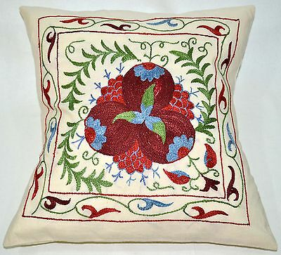 PS9 NEW Pillowcase/Sham Hand Made Silk Embroidered Floral Antique/Vintage Suzani