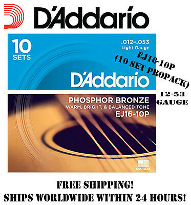 * D'addario Ej16 Phosphor Bronze Light Acoustic Guitar Strings 10-Pack .12-.53 *