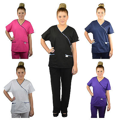 ScrubShine Medical Mock Scrubs Set Uniform Nurse Choose Size & Colour 7+ Colours