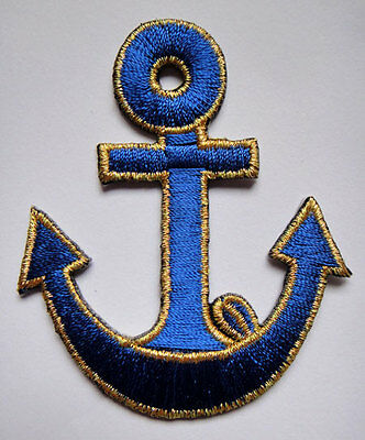 CUTE PRETTY BLUE GOLDEN ANCHOR Embroidered Iron on Patch + Free Shipping