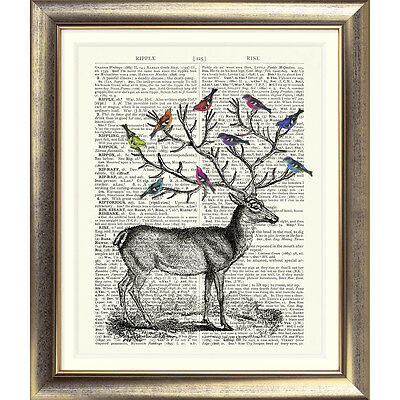 ART PRINT ON ORIGINAL ANTIQUE DICTIONARY PAGE Stag Birds Deer Vintage Picture