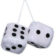 White Fluffy Furry Hanging Dice with Rope - Ideal 4 Mirror